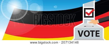 Voting. hand putting paper in the ballot box. Germany flag on sky background. vector illustration.