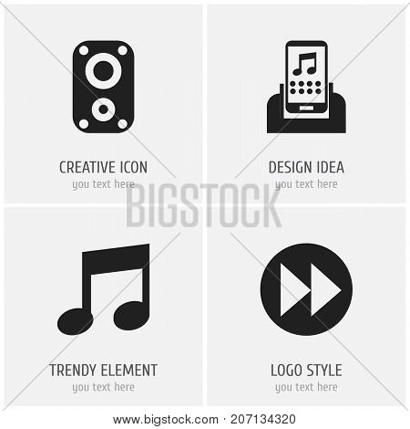 Set Of 4 Editable Multimedia Icons. Includes Symbols Such As Sound Amplifier, Music, Next And More