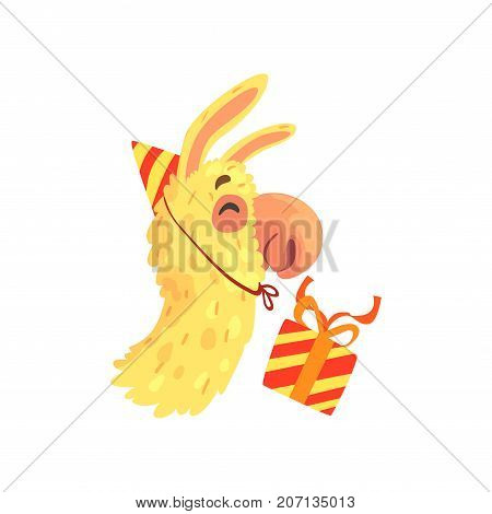 Funny llama character wearing party hat with gift box, cute alpaca animal cartoon vector Illustration on a white background