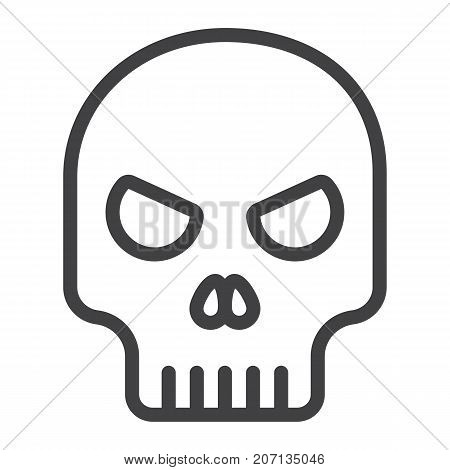 Skull line icon, halloween and scary, dead sign vector graphics, a linear pattern on a white background, eps 10.