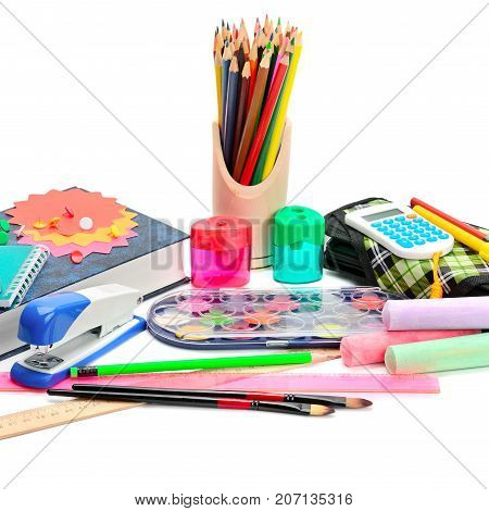 Collection of school supplies isolated on pure white background.