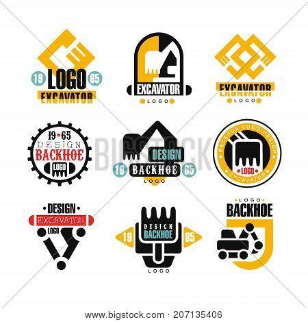 Excavator logo design set, backhoe service vector Illustrations on a white background