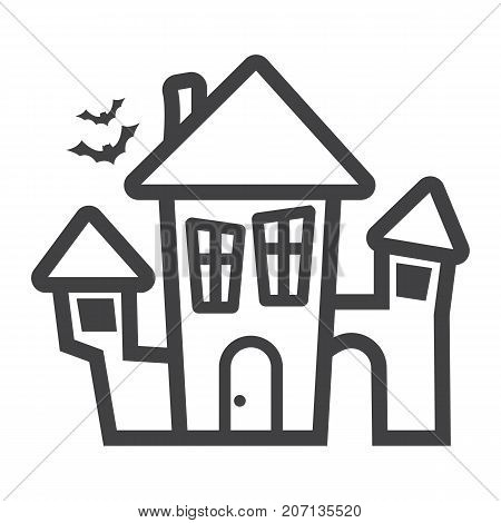 Scary House line icon, halloween and scary, creepy home sign vector graphics, a linear pattern on a white background, eps 10.