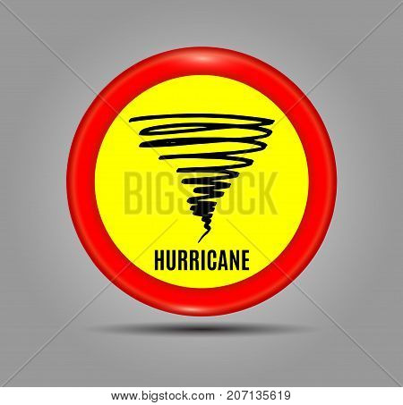 Stormy Weather Ahead Sign Board, Hurricane indication. Graphic banner of hurricane warning. Icon, sign, symbol, indication of the hurricane, vortex, tornado. Vector illustration