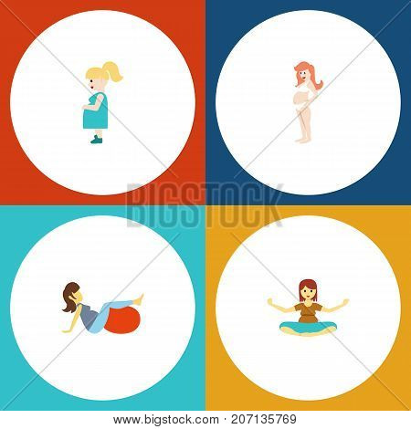 Flat Icon Pregnancy Set Of Sport, Pregnant Woman, Pregnancy And Other Vector Objects