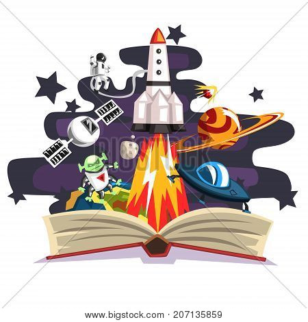Open book with rocket, astronaut, planets, stars, UFO space ship and alien inside, imagination concept vector Illustration