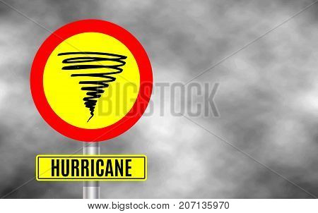 Stormy Weather Ahead Sign Board, Hurricane indication. Graphic banner of hurricane warning. Icon, sign road, symbol, indication of the hurricane, vortex, tornado. Vector illustration