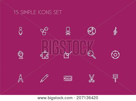 Set Of 15 Editable Education Outline Icons. Includes Symbols Such As Pushpin, Treble Clef, Pencil And More
