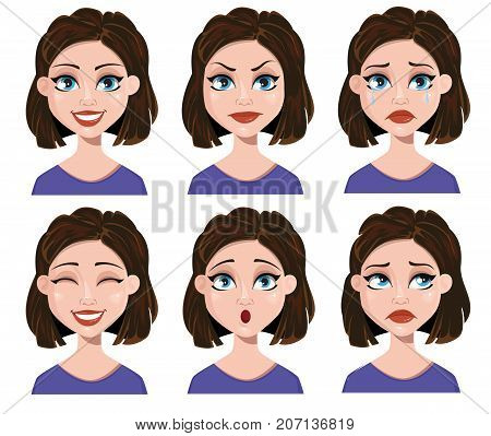 Facial expressions of a woman. Different female emotions set. Cute lady cartoon character. Vector illustration on white background.