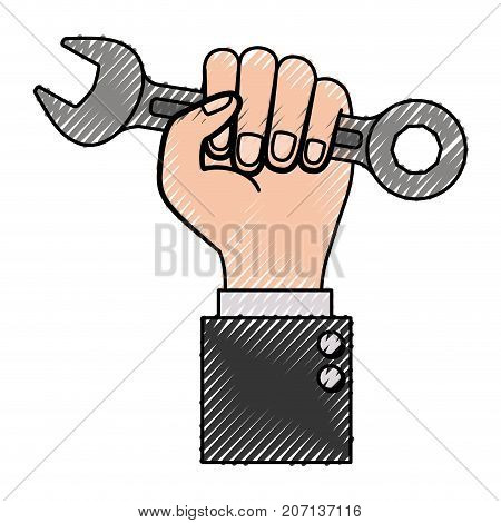 hand holding spanner flat icon colored crayon silhouette vector illustration