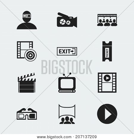 Set Of 12 Editable Cinema Icons. Includes Symbols Such As Show, Start, Tv And More