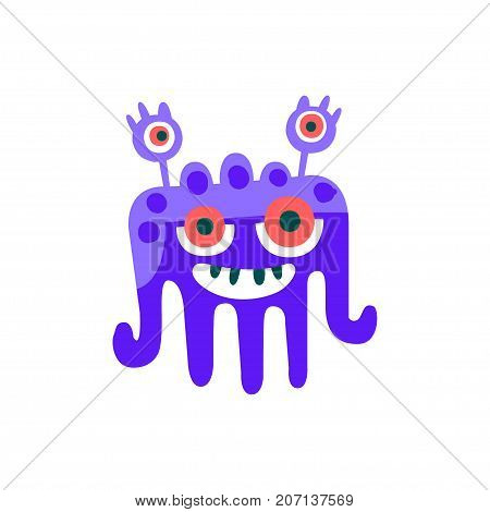 Cute blue cartoon monster, fabulous incredible creature, funny alien vector Illustration on a white background