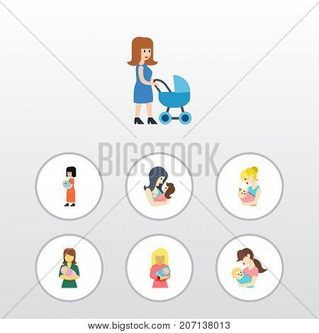 Flat Icon Mother Set Of Perambulator, Kid, Child And Other Vector Objects