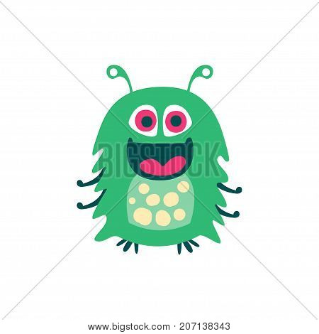Cute smiling green cartoon monster, fabulous incredible creature, funny alien vector Illustration on a white background