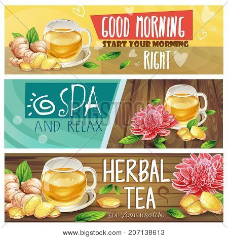 Set of good morning, spa and relax, herbal tea horizontal vector banners with teacup, sliced ginger root, leaves and flowers on wooden desk hand drawn illustrations. Healthy and natural drink concept