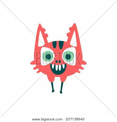 Funny red cartoon monster, fabulous incredible creature, cute alien vector Illustration on a white background