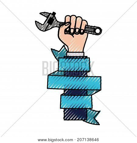 hand holding adjustable wrench with decorative blue ribbon around of arm colored crayon silhouette vector illustration