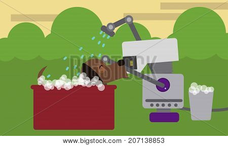 Domestic robot bathing pet dog in a bathtub in garden. Personal household robot assistance futuristic concept illustration vector.