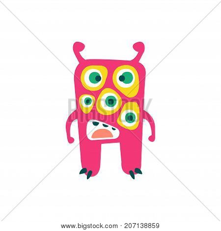 Cute pink cartoon monster, fabulous incredible creature, funny alien vector Illustration on a white background