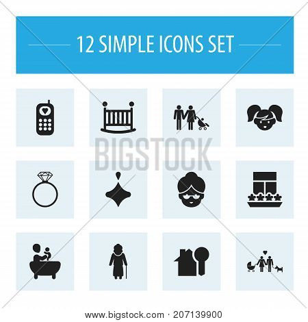 Set Of 12 Editable Folks Icons. Includes Symbols Such As Grandmother, Balcony, Tub