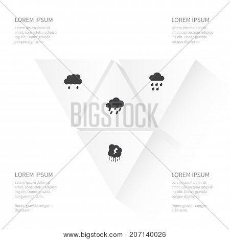 Icon Weather Set Of Rainy, Storm, Raindrop And Other Vector Objects