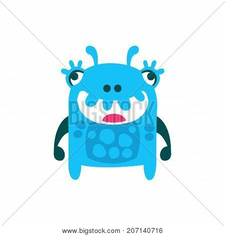 Cute cartoon monster, fabulous incredible creature, funny alien vector Illustration on a white background