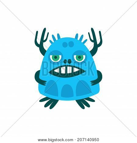 Funny blue cartoon monster, fabulous incredible creature, cute alien vector Illustration on a white background