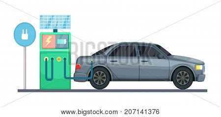 Vector illustration of electrical car charging station. Electric car charging, eco green energy