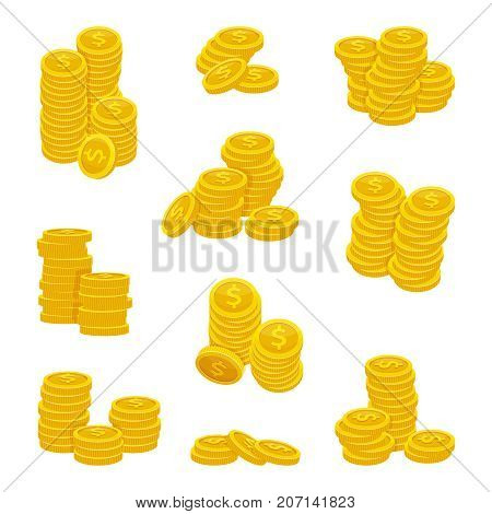 Different stacks of golden coins. Vector illustrations of gold money. Gold coin stack money, heap investment coins