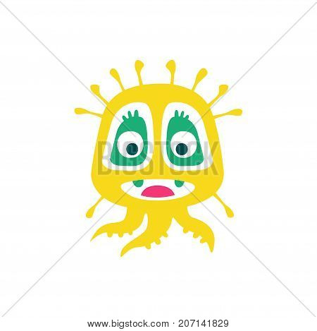 Cute yellow cartoon monster, fabulous incredible creature, funny alien vector Illustration on a white background