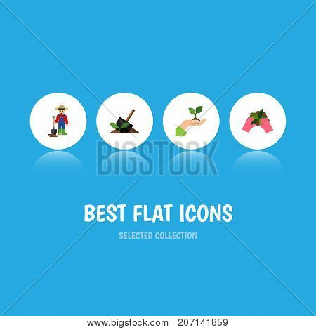 Flat Icon Sow Set Of Soil, Care, Plant And Other Vector Objects