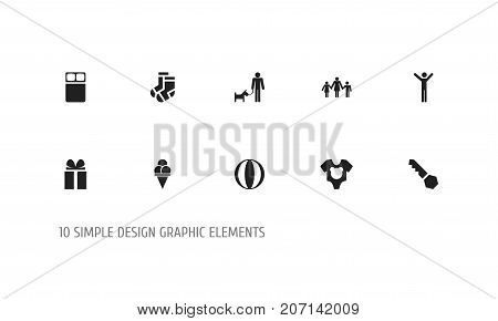 Set Of 10 Editable Family Icons. Includes Symbols Such As Male, Lock, Kids And More