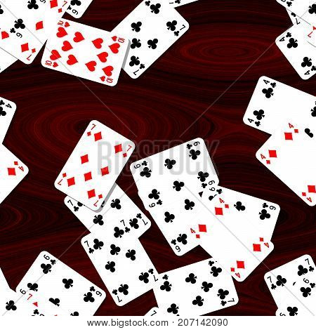 playing cards scattered on the mahogany wooden table - seamless pattern texture background