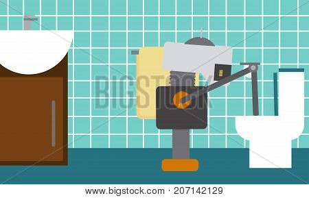 Domestic robot cleaning toilet bowl with brush. Personal robot housekeeping futuristic concept illustration vector.