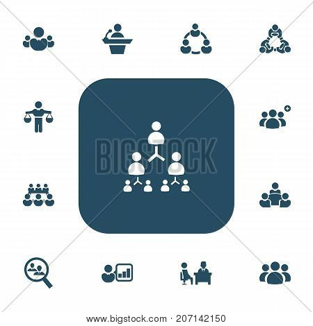 Set Of 13 Editable Team Icons. Includes Symbols Such As Meeting, Teamwork, Human Resouces And More