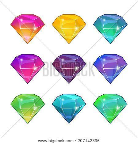 Brilliant diamonds in different colors. Vector cartoon set for game design. Set of gemstone design illustration