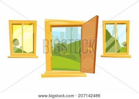 Open doors and sunset landscape behind windows. Vector pictures set in cartoon style. Illustration of interior room frame window and door