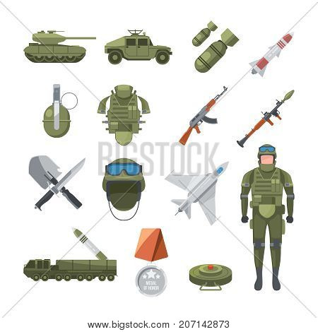 Icon set of police and army. Military illustrations of soldiers, and different weapons. Mlitary soldier, army, ammunition and grenade