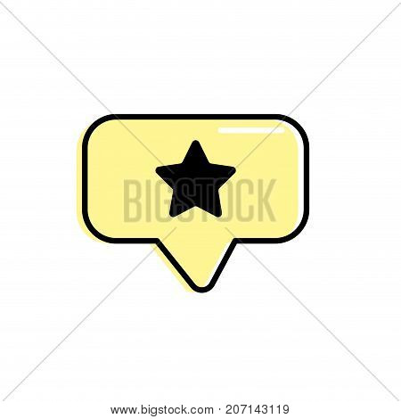 chat bubble with star design inside vector illustration
