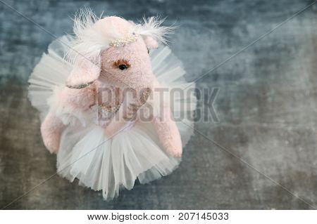 Pink Handmade Toy Elephant Ballerinа In White