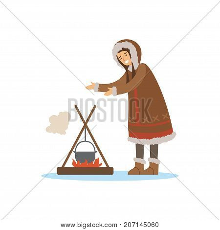Eskimo, Inuit, Chukchi woman character in traditional costume cooking food in the pot over a bonfire, northern people, life in the far north vector Illustration on a white background