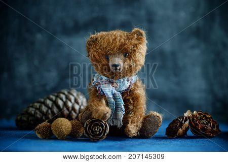 Handmade Toy Teddy Bear Brown Plush Pine Cones