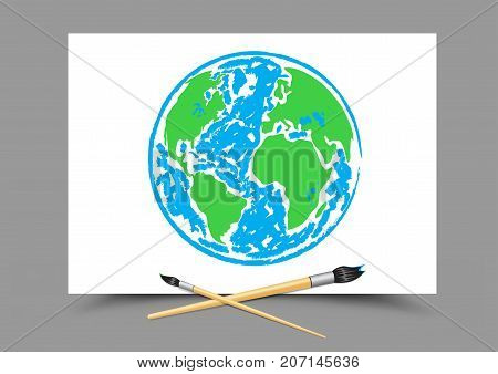 Paintbrush drawing planet Earth on white paper on gray background. Geography and ecology lesson. Theme of education