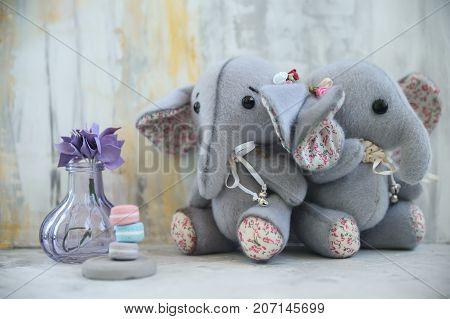 Handmade Toy Two Gray Elephants With Purple Flower