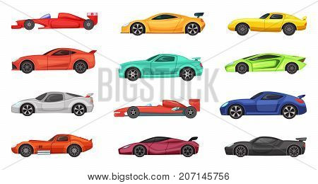 Different sport cars isolated on white. Vector illustrations of racers on road. Set of race car transport, sport and speed automobile
