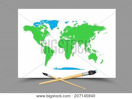 Paintbrush drawing world map on white paper on gray background. Geography and ecology lesson. Theme of education
