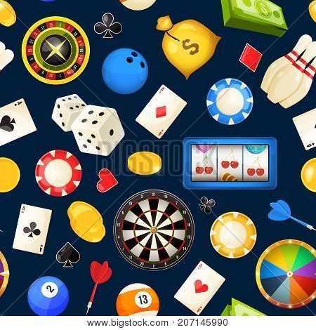 Seamless pattern with gambling and other casino entertainments. Poker, dice vector illustrations. Roulette and bowling, billiards and poker