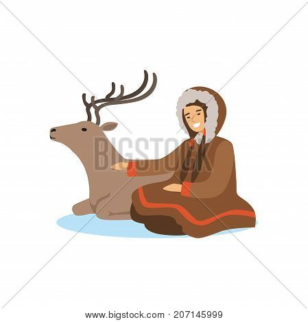 Eskimo, Inuit, Chukchi woman in traditional costume sitting with her deer, northern people, life in the far north vector Illustration on a white background