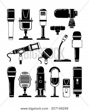 Vector monochrome illustrations of microphones and other professional tools for reporters. Microphone for studio or karaoke, mic and broadcasting