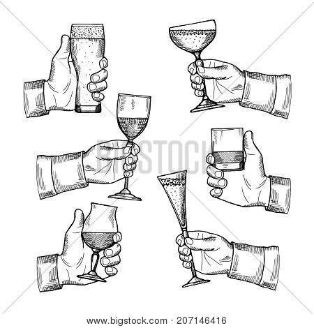 Illustrations of different alcoholic drinking glasses in hands. Vector hand drawn pictures isolate. Alcohol drink toast, beverage in engraving glass